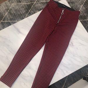 ZARA red check skinny pants